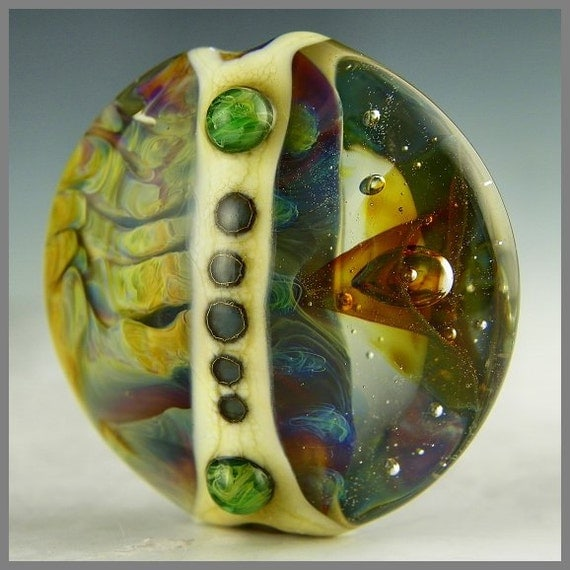 a handmade lampwork large lentil focal bead in silver glass and floating transparents - Gateway