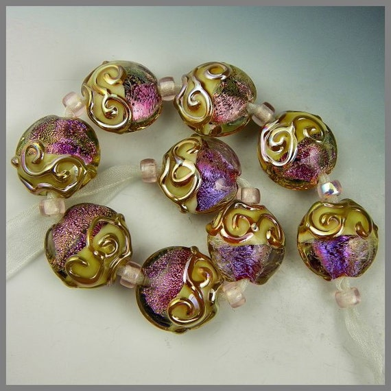 set of nine handmade lampwork glass lentil beads bright pink dichro and iridescent gold - Dichro Thunder