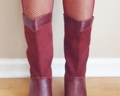 vintage 70s distressed burgundy leather and suede gogo boots size size 7b