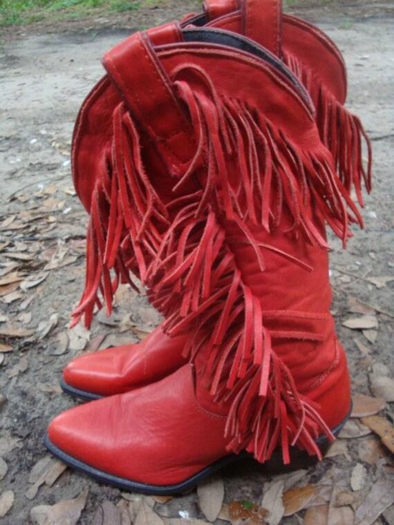 Vintage Red Leather Fringe Western Boots Size 6m