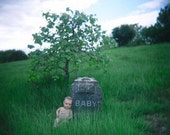 Halloween Decoration, Photography, Antique Doll in Greenwood Cemetery Photo, Baby