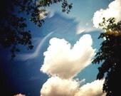 Romantic Holga Photography, Heart Shaped Cloud, Metallic Fine Art Print