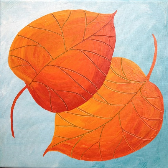Original Acrylic Painting on 12x12 Square Wrapped Canvas Colorful, Fall, Autumn Dancing Leaves Orange and Red on Light Blue- Leaf Series 12