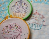 Handmade embroidery patterns Cupcake Party.