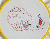 Handmade embroidery pattern 8: Sharing is good. TKF patterns and tutorials