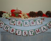 Christmas Banner- Merry Christmas Sign-Christmas Ornament-Teachers Gift Idea-Holiday Gifts-Christmas Signs-Christmas Decoration-Christmas