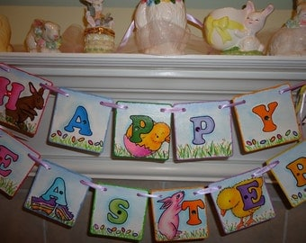 Happy Easter Banner-Easter Garland-Happy Easter Sign-Easter Bunny Banner-Easter Decorations-Easter Bunny Garland-Easter Gift Idea-Teachers