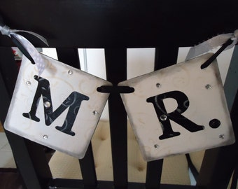 Mr and Mrs Banner-Bride and Groom Sign-Wedding Thank You-Wedding Photo Prop-Reception Chairs-Wedding Chair Signs-Wedding Decorations-Wedding