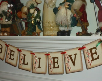 Christmas Banner-Holiday Banner-Christmas Sign-Holiday Decoration-Believe Banner-Holiday Gift Idea-Christmas Garland-Holiday Decor-Christmas