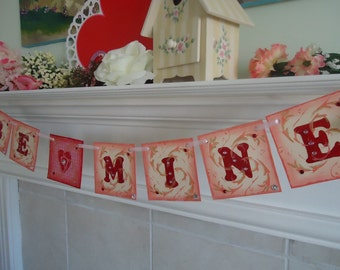 Valentines Banner-Be Mine Banner-Heart Banner-Valentines Decor-Valentine Party-Valentine Garland-Be Mine Sign-Valentines Sign-Valentines Day