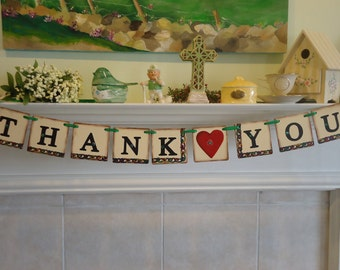 Wedding Banner-Garland- Thank You Banner- Hand Painted- Celtic- Irish Wedding Banner-Celtic Wedding Banner