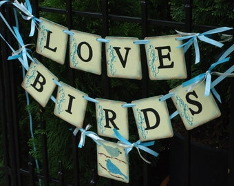 Wedding Banner-Love Birds Banner-Wedding Photo Prop-Bridal Shower-Bird Cage Card Box-Garden Wedding Sign-Wedding Signs-Wedding Love Birds