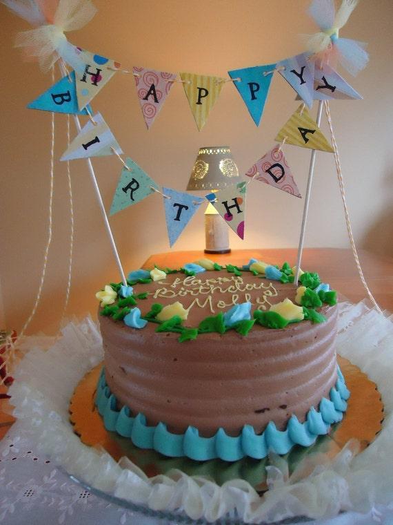 Birthday Cake Banner-Cake Bunting-Mini Cake Banner-Birthday