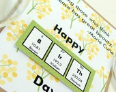 Marie Curie Birthday Card - Yellow and Green