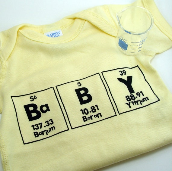 Baby of Chemistry Onesie - Yellow with Black 12 months
