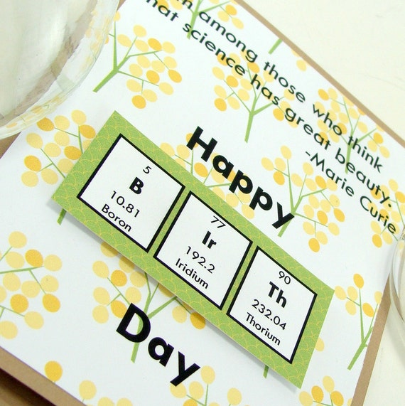 Marie Curie Birthday Card Yellow And Green