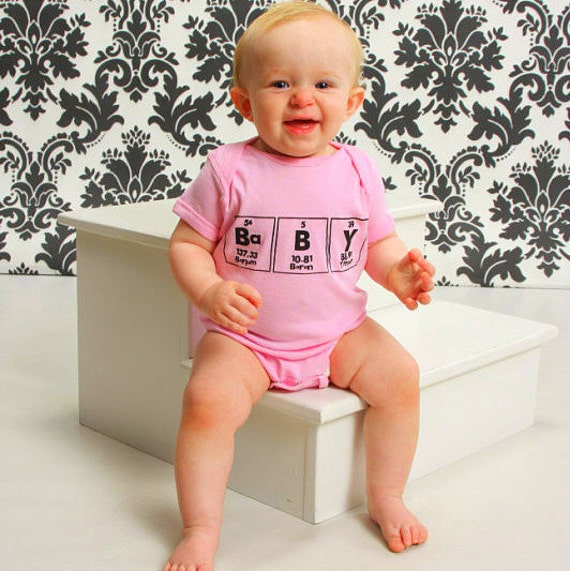 Periodic Table Baby of Chemistry bodysuit - Pink with Black