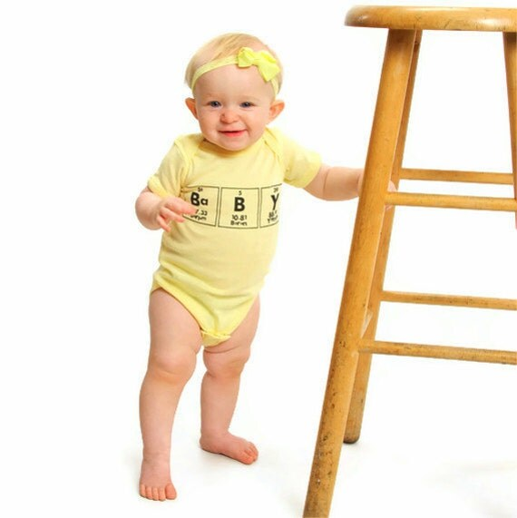 Chemistry Geeky bodysuit Periodic Table Baby One Piece Unisex Clothes - Yellow with Black