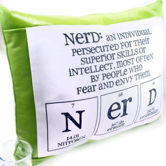 Chemistry Nerd Pillow - Green Pleather