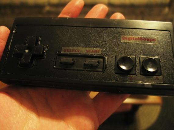 Black NES Nintendo game controller olive oil soap, apple jack and peel scented