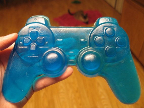 Blue Sony Playstation video game controller soap, berry fruit scented