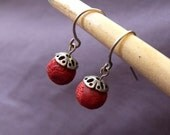 Playful Red Coral Earrings with Sterling Silver Parts - Under 20 USD