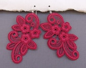 Suprising Red Lace Earrings with Sterling Silver Ear Wires - One of a Kind - Under 30 USD