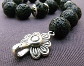 Black Lava Rock Bracelet with Sterling Silver Flower Clasp