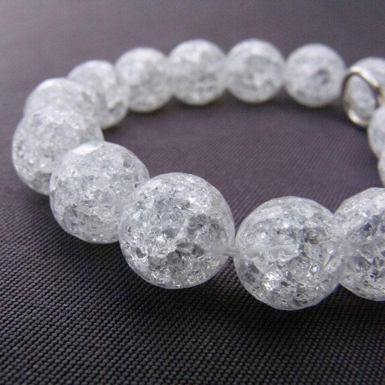 Cracked Quartz Bracelet with Sterling Silver Flower Clasp