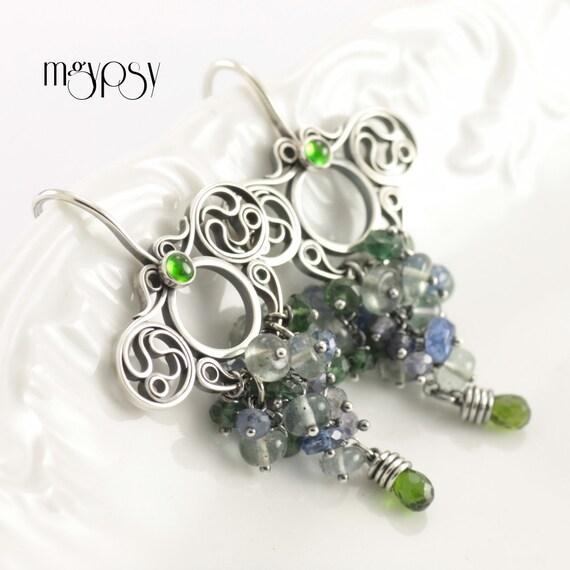 SALE Lenus - Sterling and Fine Silver Cascade Earrings