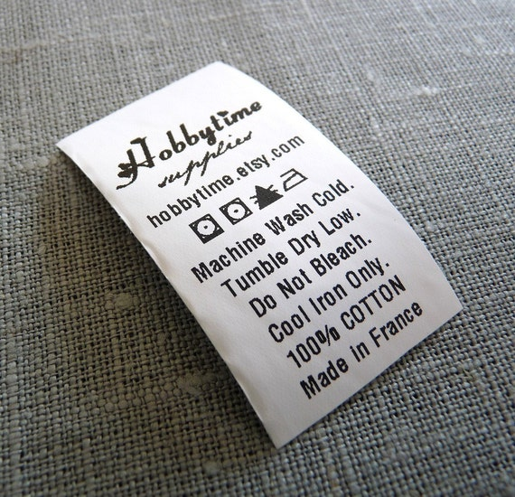 100 Custom Care Label Black Printed On White Nylon Label