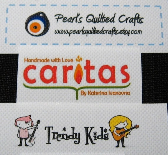 3 SHEETS 210 1\/2 x 2 inches Printed Fabric Labels Choose IRON ON or SEW ON(White Background)