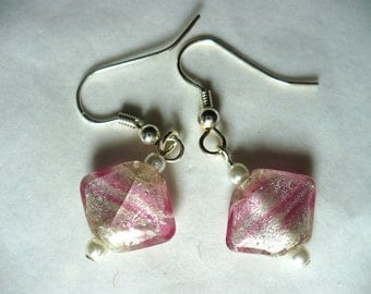 Karina's Murano Venetian Italian Glass Small Delicate Pink Foil Fashion Dangle Earrings w. Vintage Japan Seed Faux Pearls