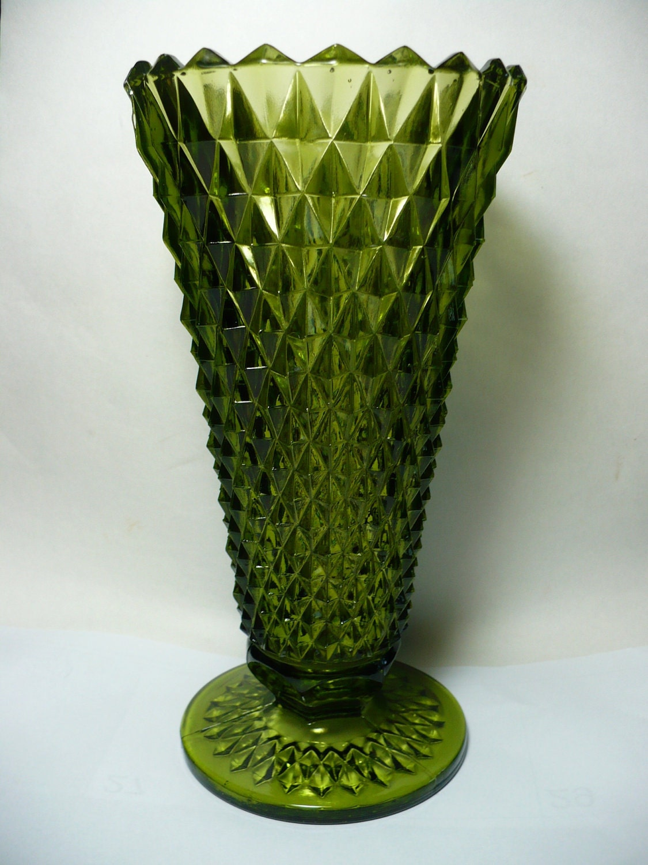 Vintage 8 Green Diamond Pattern American Press Cut Glass
