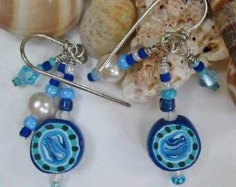 Blue Ocean Polymer Clay Earrings
