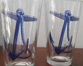 2 Pint Glasses Nautical Anchor