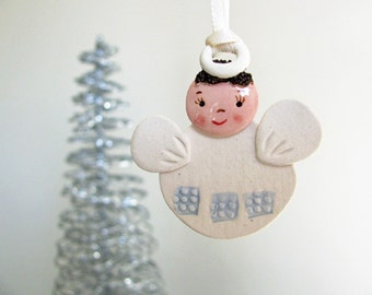 Baby Boy Angel Ornament Hand Sculpted Clay