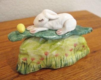 Easter Bunny Dreaming in Garden