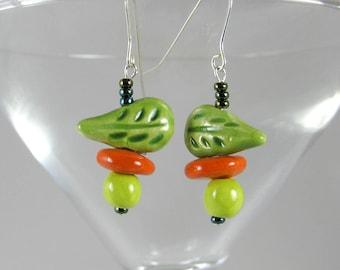 Green Leaf Earrings Handmade Beads