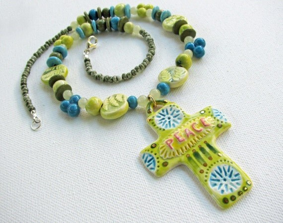 Peace Cross Necklace Handmade Clay Beads