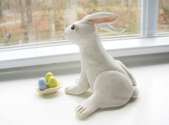 Speckled White Bunny Handmade Clay