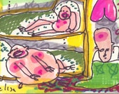 Bunk Bed Hide Out ORIGINAL Art Brut Trading Card RAW Outsider Naive Visionary Elisa ACEO