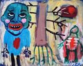 Green Mountain Man Walking Tree Outsider Art Brut RAW Visionary Naive Elisa