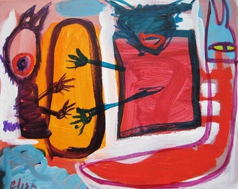 Cats Snake Egg Outsider Art Brut RAW Visionary Naive Primitive Elisa