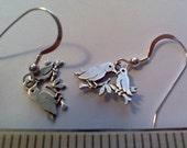 Sterling silver lovebird earrings