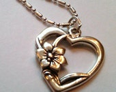 Sterling Silver Heart with Flower on a S/P Chain