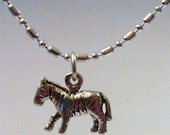 Sterling silver zebra pendant charm on a sp  necklace chain