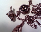 CLOSEOUT OOAK Antiqued Copper  leaf, bird and nest