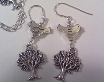 SS tree and bird earrings