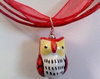 SS Red handpainted porcelain owl necklace